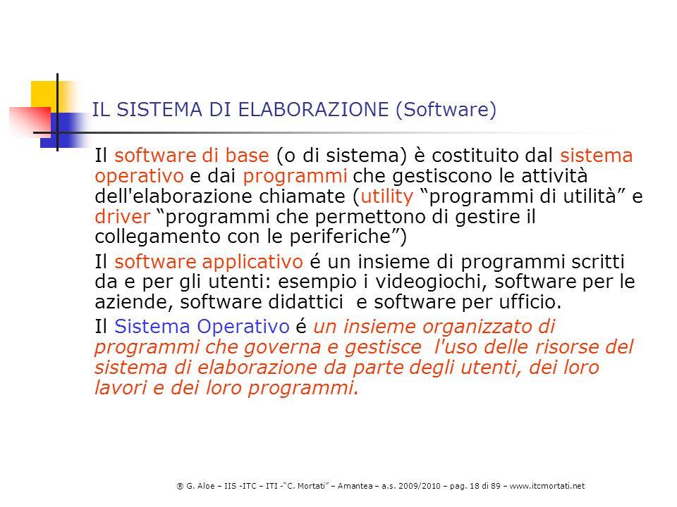 IL SISTEMA DI ELABORAZIONE (Software)