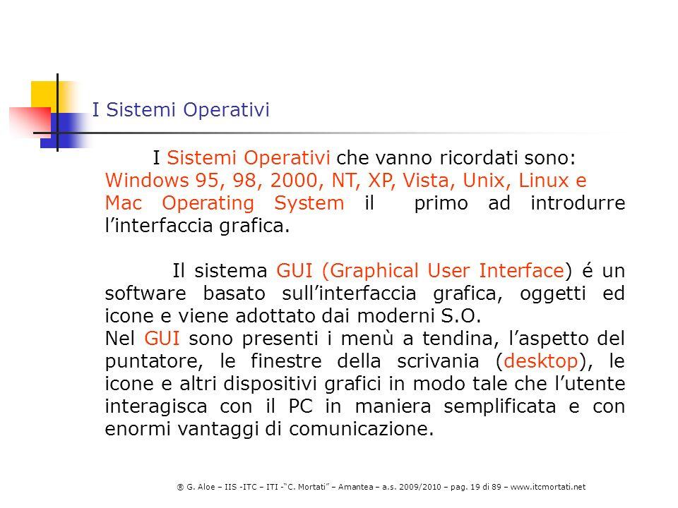 I Sistemi Operativi che vanno ricordati sono: