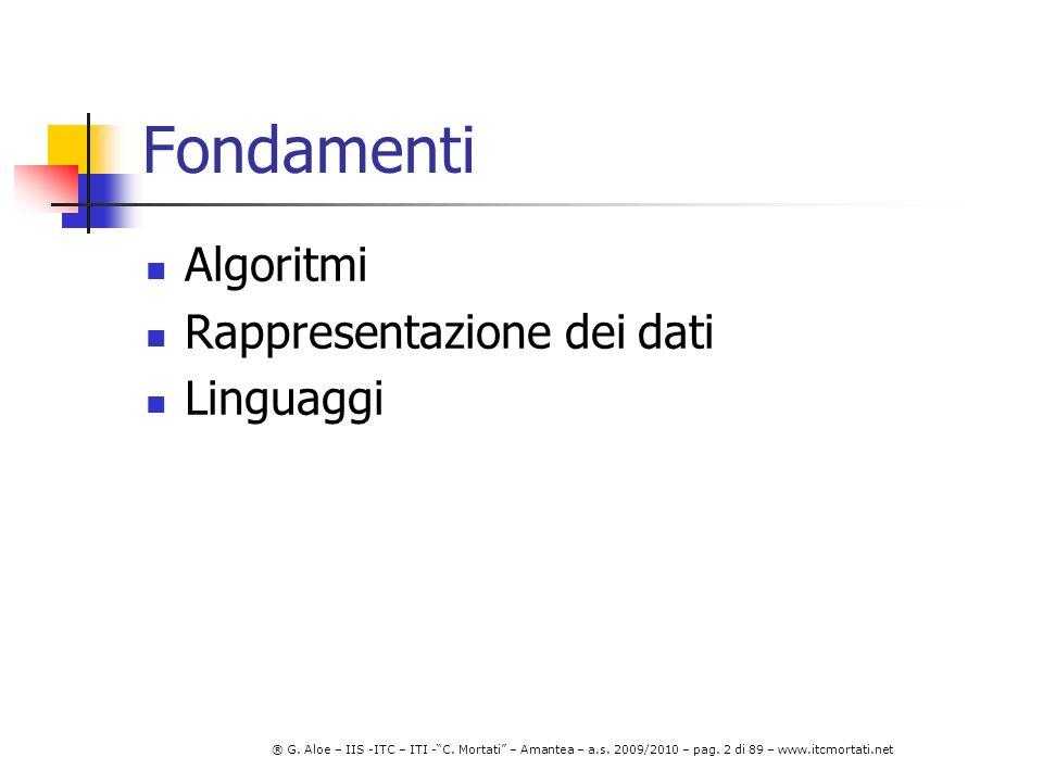 Fondamenti Algoritmi Rappresentazione dei dati Linguaggi