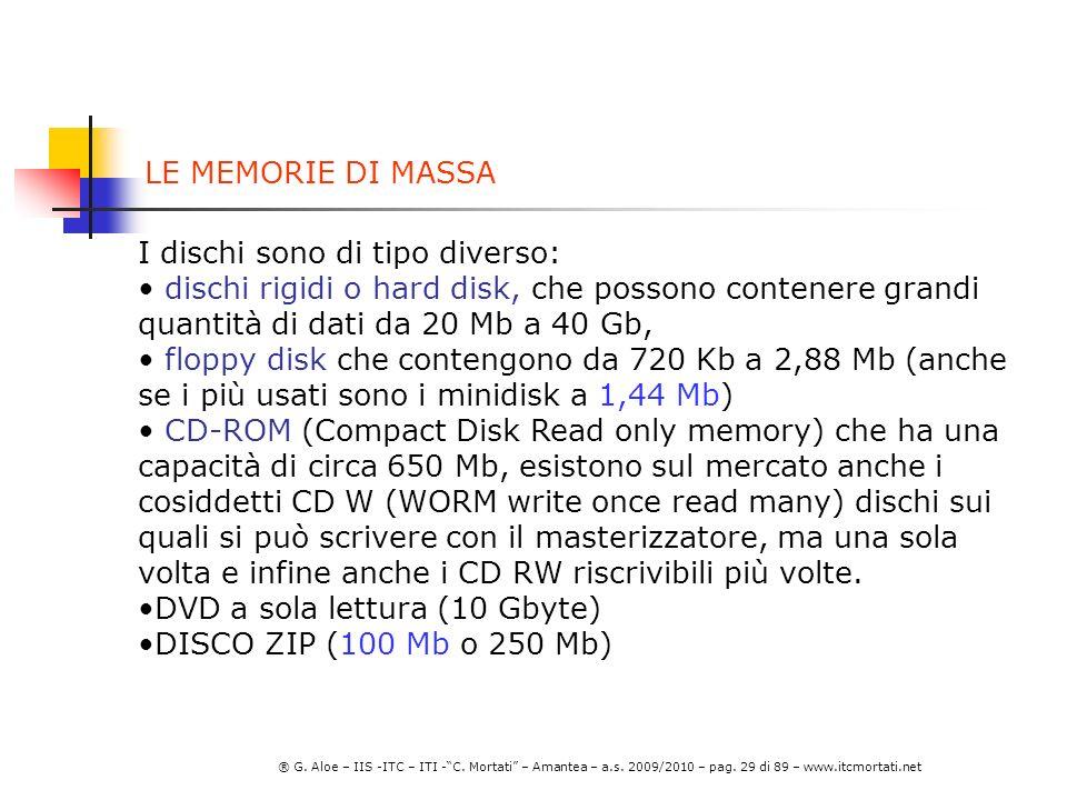 LE MEMORIE DI MASSA I dischi sono di tipo diverso: dischi rigidi o hard disk, che possono contenere grandi quantità di dati da 20 Mb a 40 Gb,