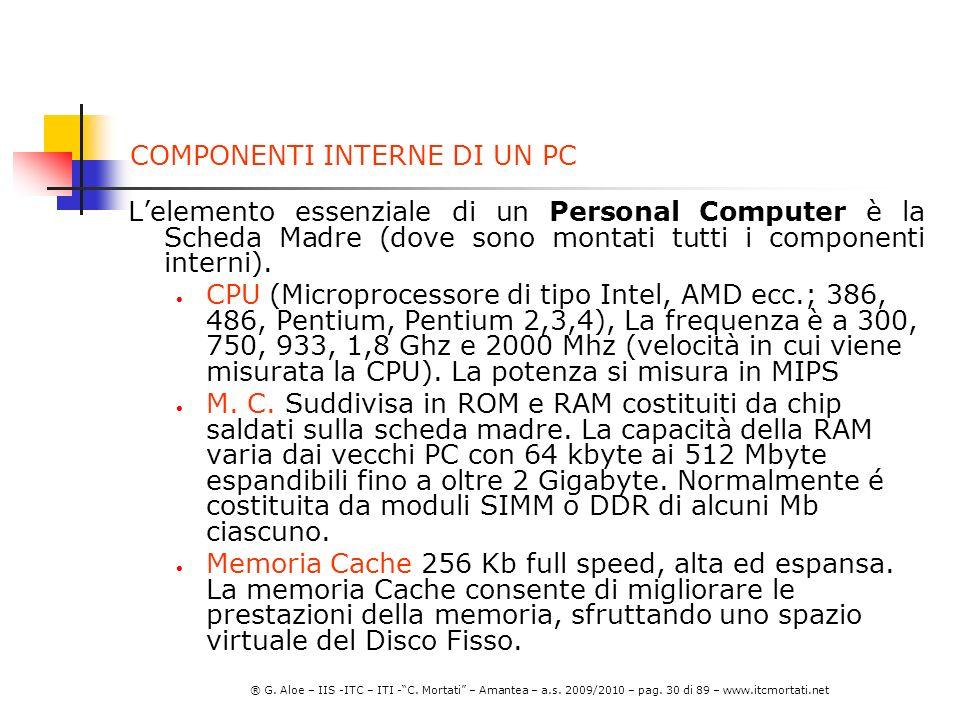 COMPONENTI INTERNE DI UN PC