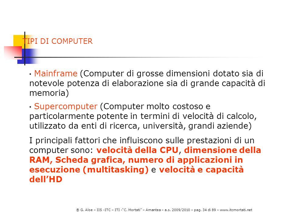 TIPI DI COMPUTER Mainframe (Computer di grosse dimensioni dotato sia di notevole potenza di elaborazione sia di grande capacità di memoria)