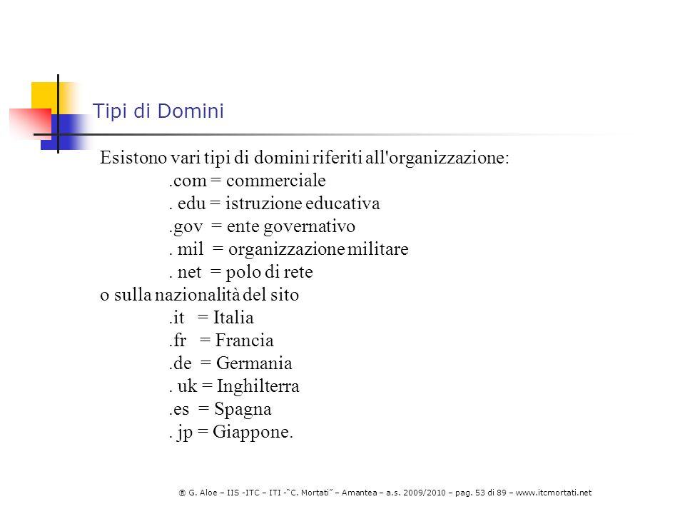 Tipi di Domini Esistono vari tipi di domini riferiti all organizzazione: .com = commerciale. . edu = istruzione educativa.