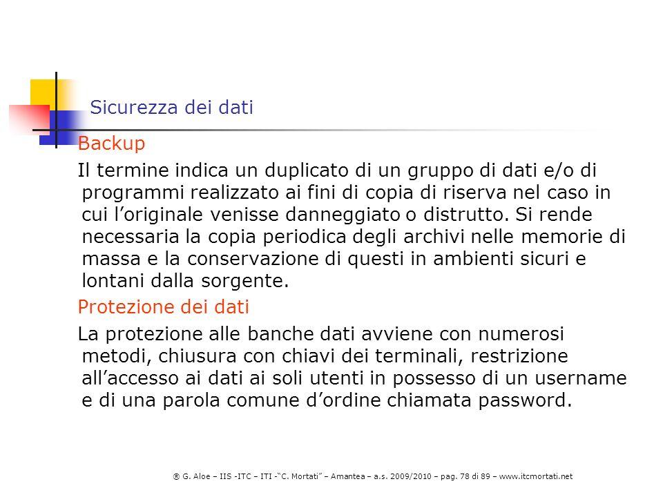 Sicurezza dei dati Backup.