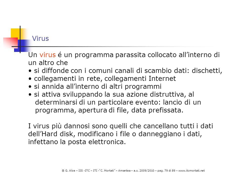 Virus Un virus é un programma parassita collocato all'interno di un altro che. si diffonde con i comuni canali di scambio dati: dischetti,
