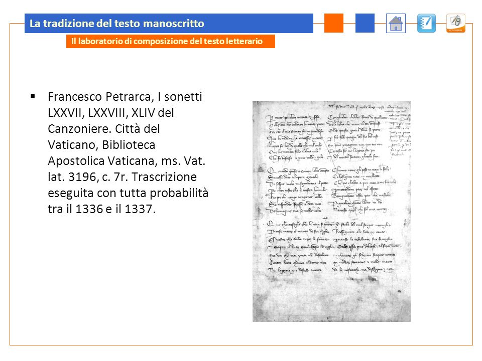 La tradizione del testo manoscritto