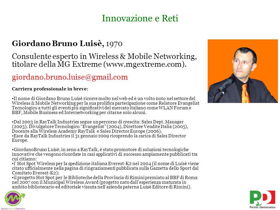 Innovazione e Reti Giordano Bruno Luisè, 1970