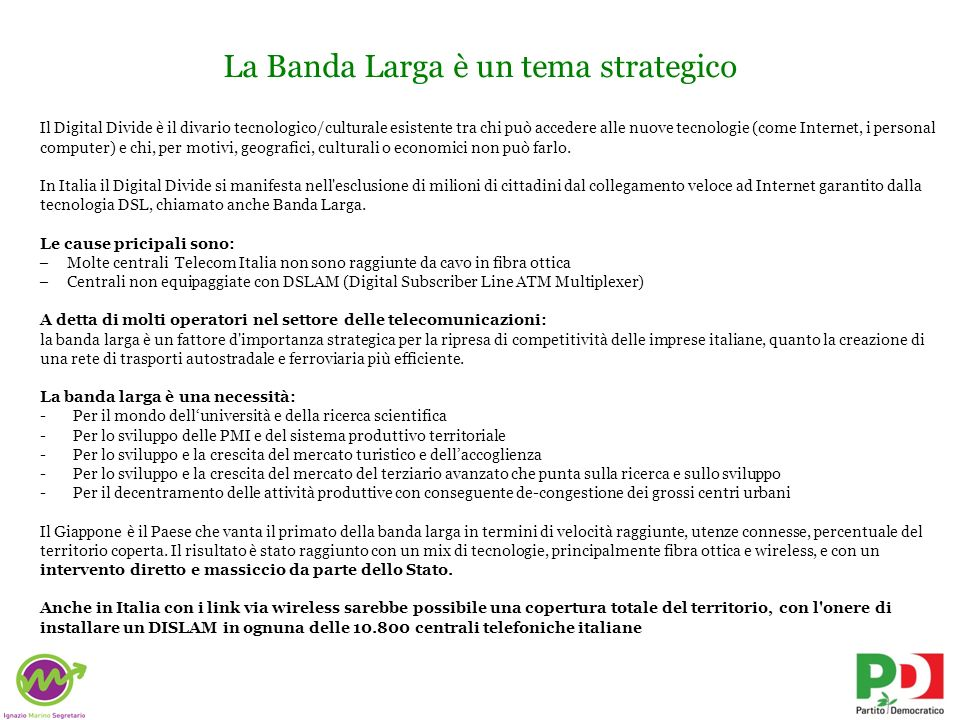 La Banda Larga è un tema strategico