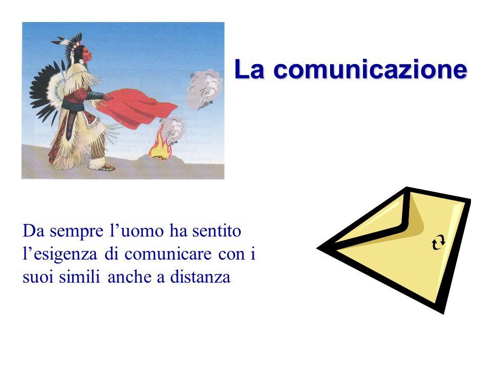 La comunicazione Da sempre l'uomo ha sentito l'esigenza di comunicare con i suoi simili anche a distanza.