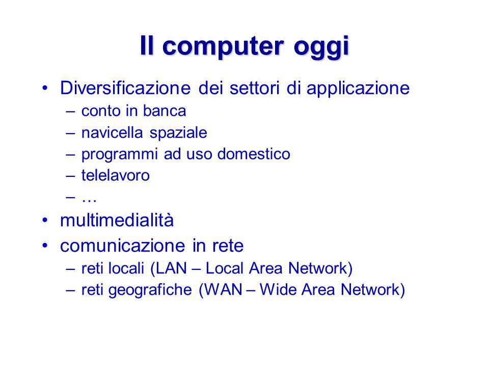 Il computer oggi Diversificazione dei settori di applicazione