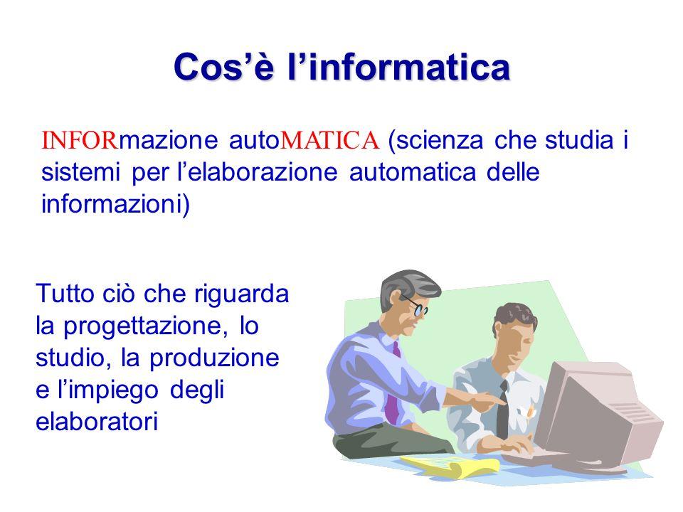 Cos'è l'informatica INFORmazione autoMATICA (scienza che studia i sistemi per l'elaborazione automatica delle informazioni)