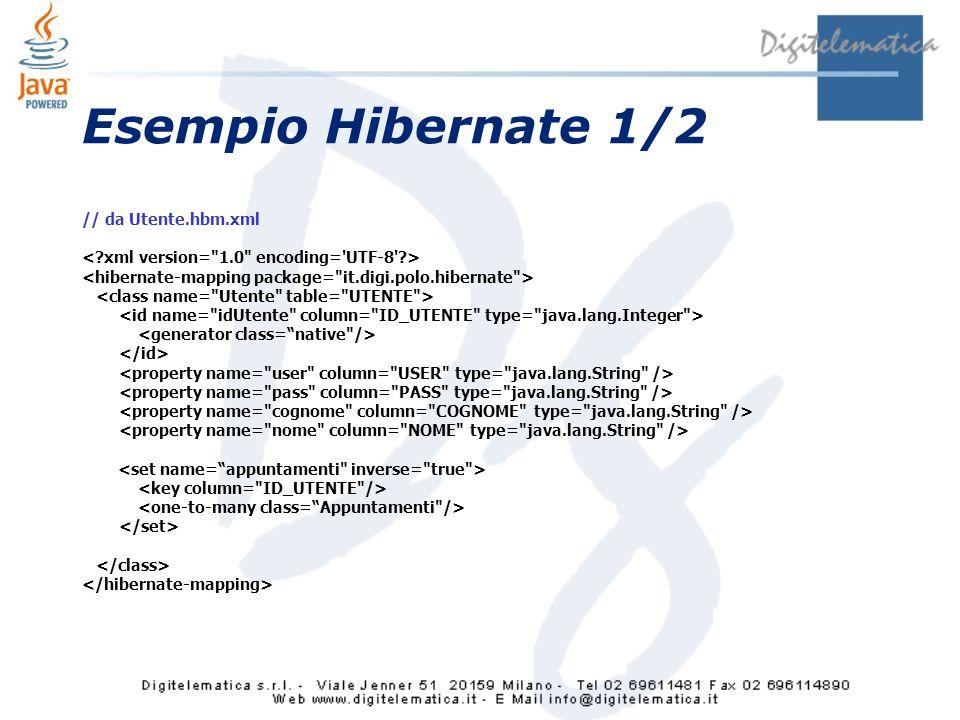 Esempio Hibernate 1/2 // da Utente.hbm.xml
