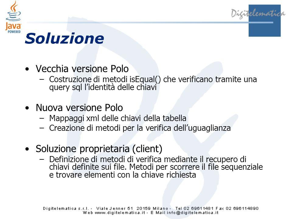 Soluzione Vecchia versione Polo Nuova versione Polo