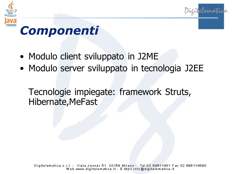 Componenti Modulo client sviluppato in J2ME