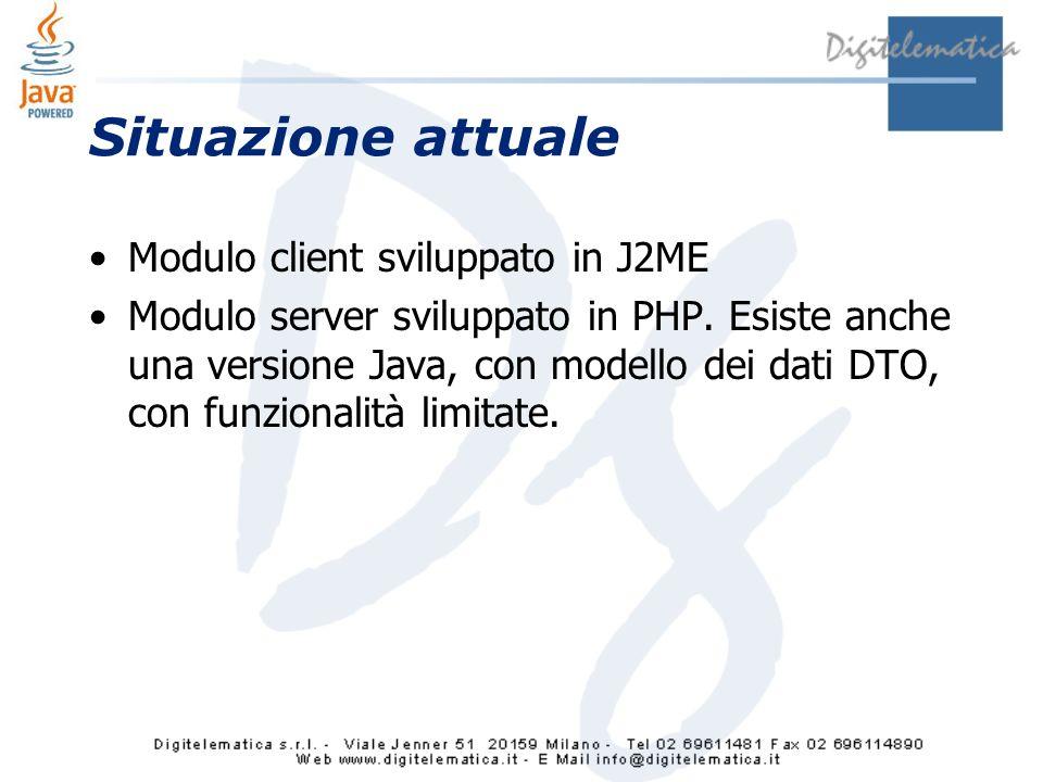 Situazione attuale Modulo client sviluppato in J2ME