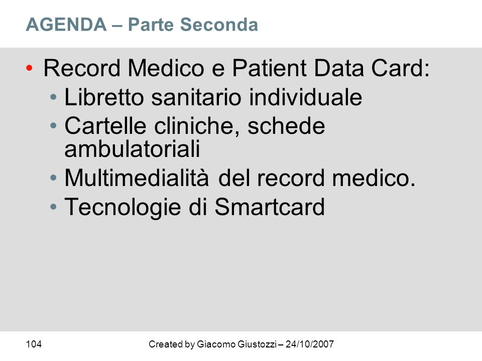 Record Medico e Patient Data Card: Libretto sanitario individuale
