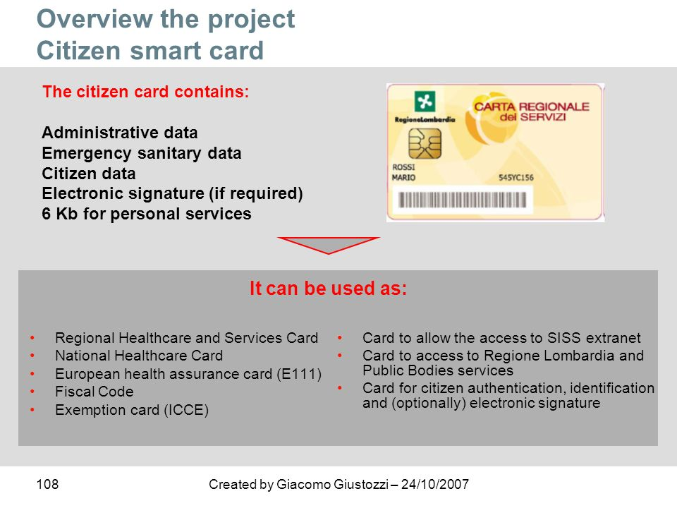 Overview the project Citizen smart card