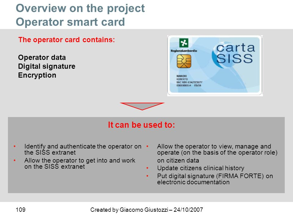 Overview on the project Operator smart card