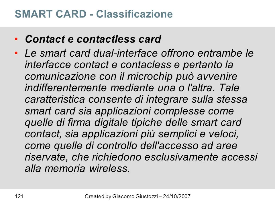SMART CARD - Classificazione