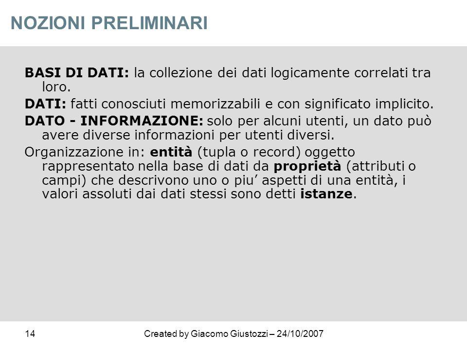 NOZIONI PRELIMINARI BASI DI DATI: la collezione dei dati logicamente correlati tra loro.