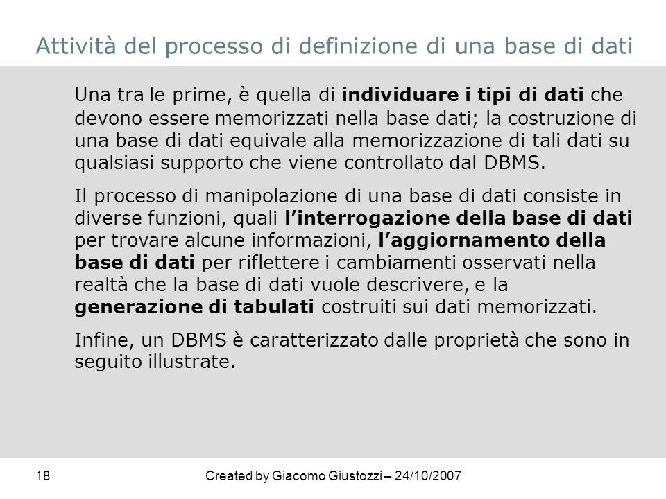 Attività del processo di definizione di una base di dati