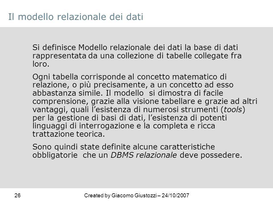 Il modello relazionale dei dati