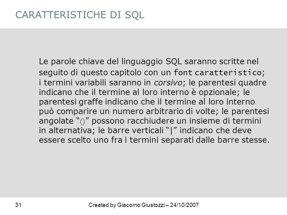 CARATTERISTICHE DI SQL