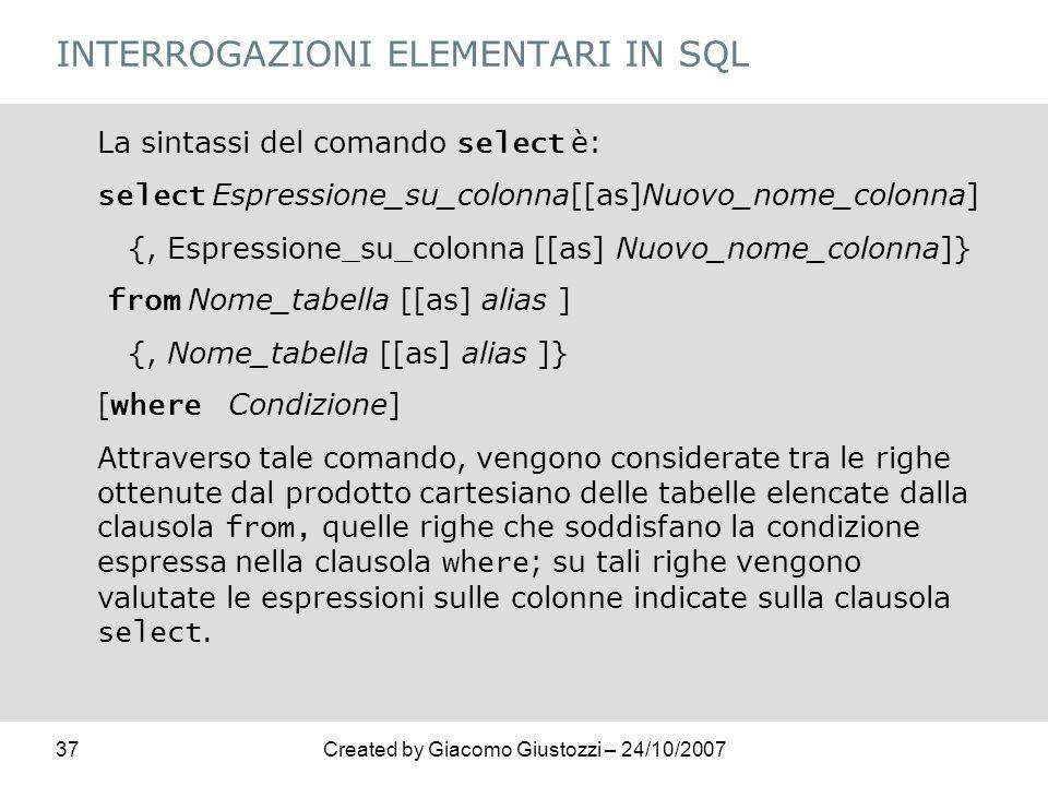 INTERROGAZIONI ELEMENTARI IN SQL