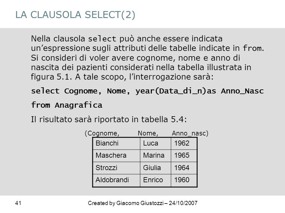LA CLAUSOLA SELECT(2)