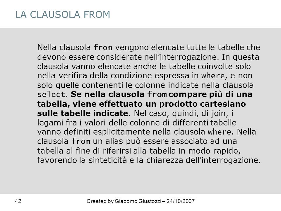 LA CLAUSOLA FROM