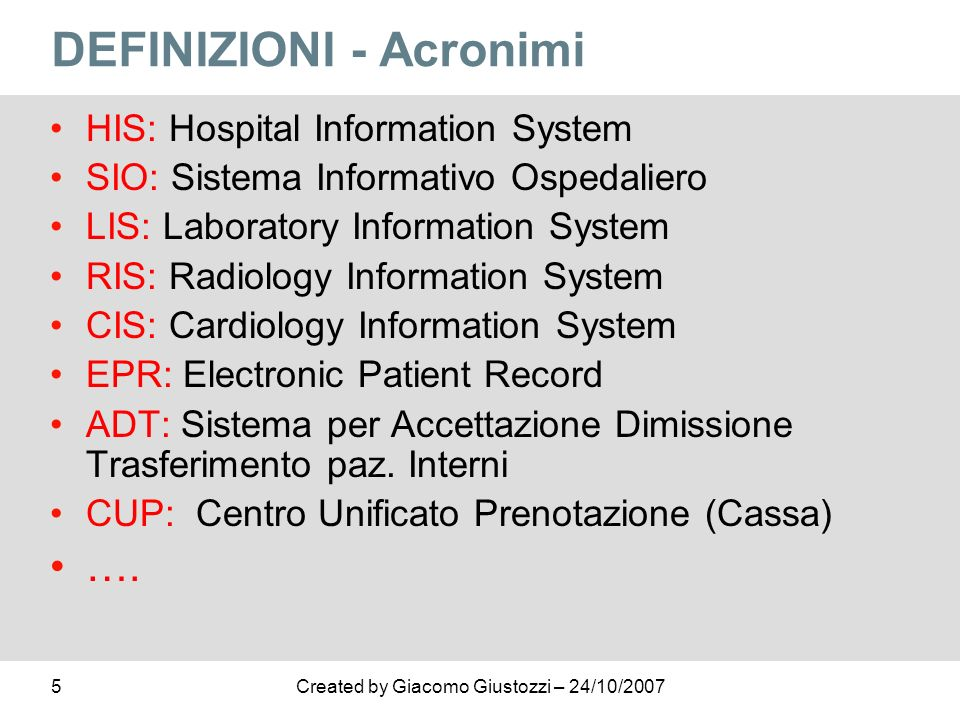 DEFINIZIONI - Acronimi
