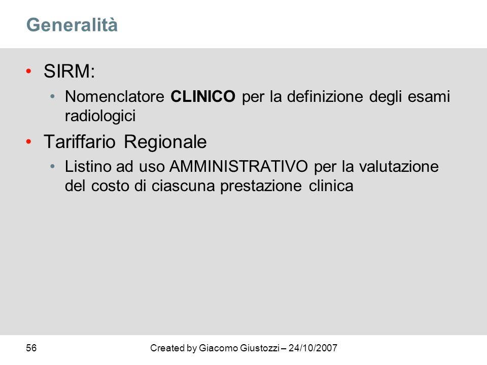 Generalità SIRM: Tariffario Regionale