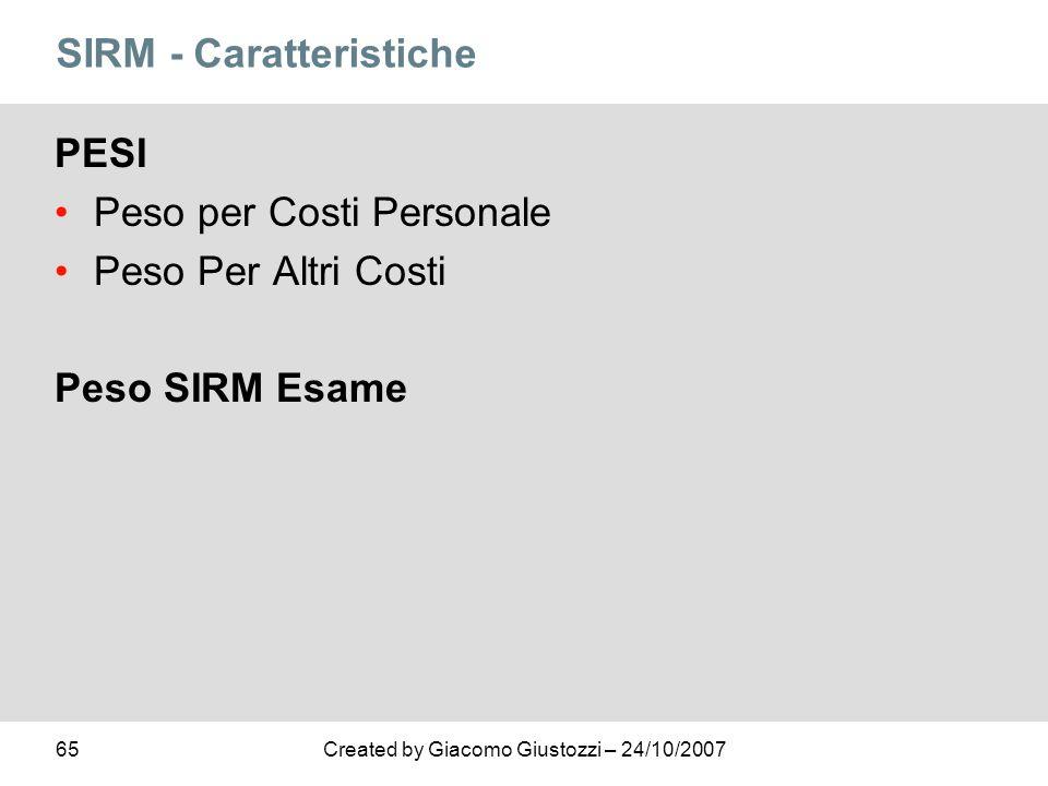 SIRM - Caratteristiche