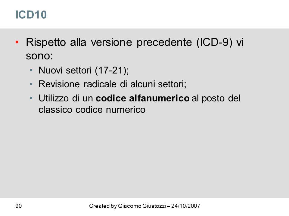 Rispetto alla versione precedente (ICD-9) vi sono: