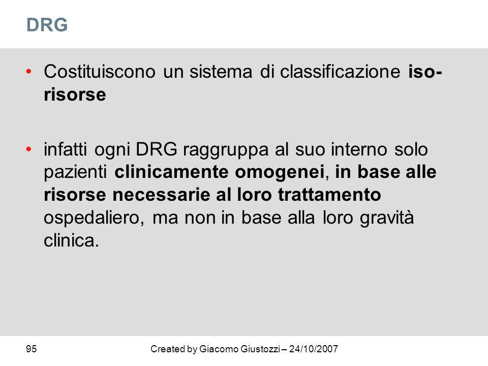 DRG Costituiscono un sistema di classificazione iso-risorse.
