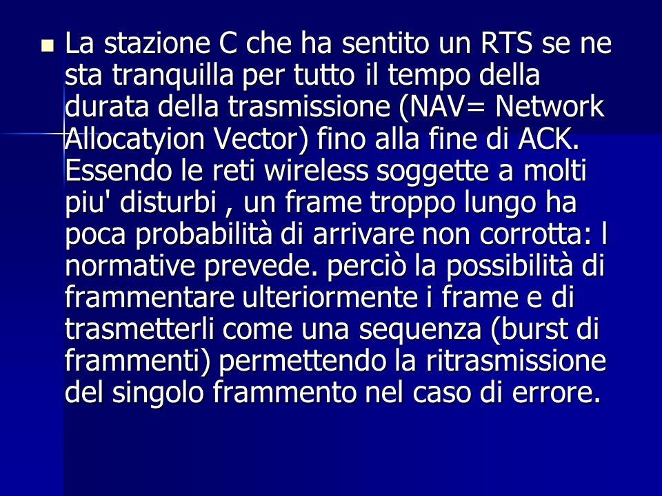 La stazione C che ha sentito un RTS se ne sta tranquilla per tutto il tempo della durata della trasmissione (NAV= Network Allocatyion Vector) fino alla fine di ACK.