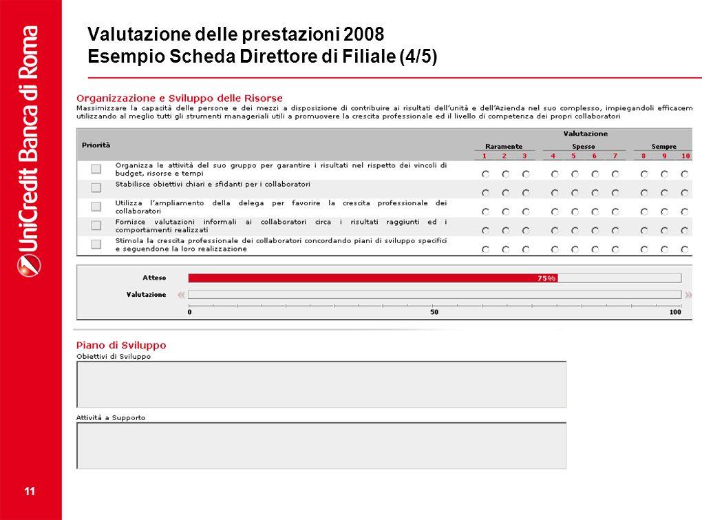 Valutazione delle prestazioni 2008 Esempio Scheda Direttore di Filiale (4/5)