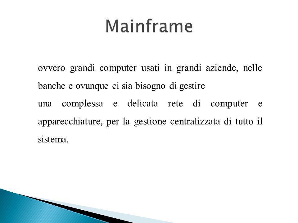 Mainframe ovvero grandi computer usati in grandi aziende, nelle banche e ovunque ci sia bisogno di gestire.