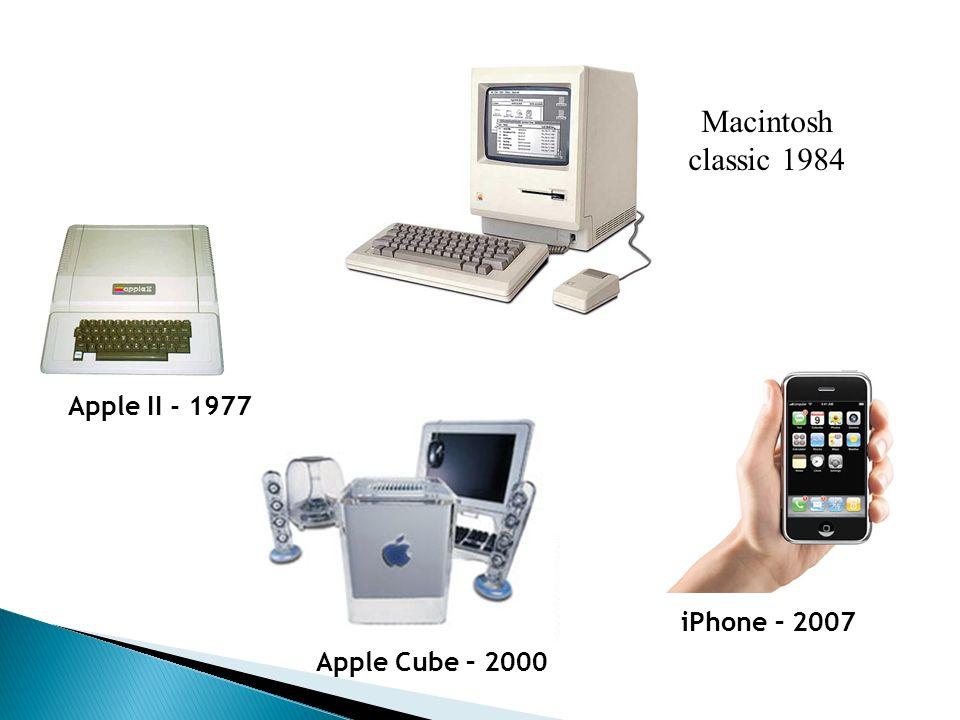 Macintosh classic 1984 Apple II - 1977 iPhone – 2007 Apple Cube – 2000