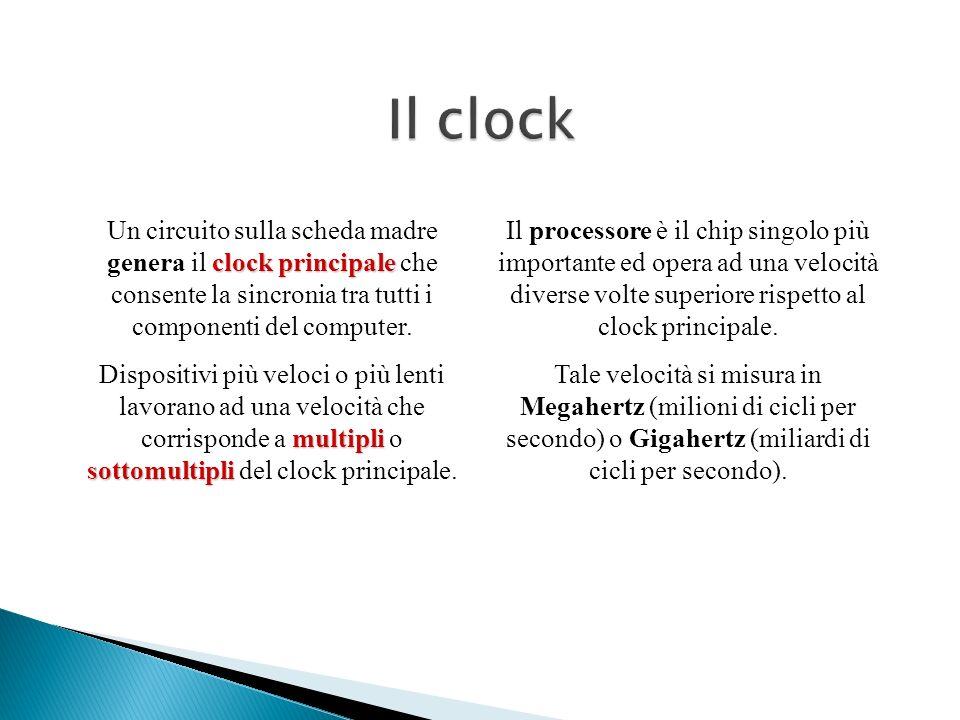 Il clock Un circuito sulla scheda madre genera il clock principale che consente la sincronia tra tutti i componenti del computer.