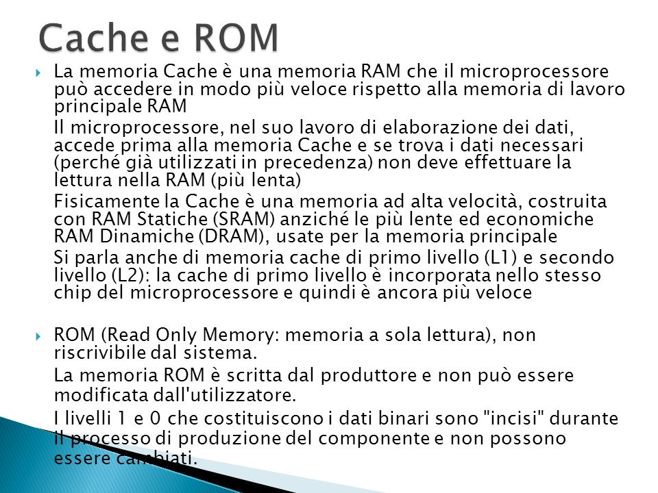 Cache e ROM