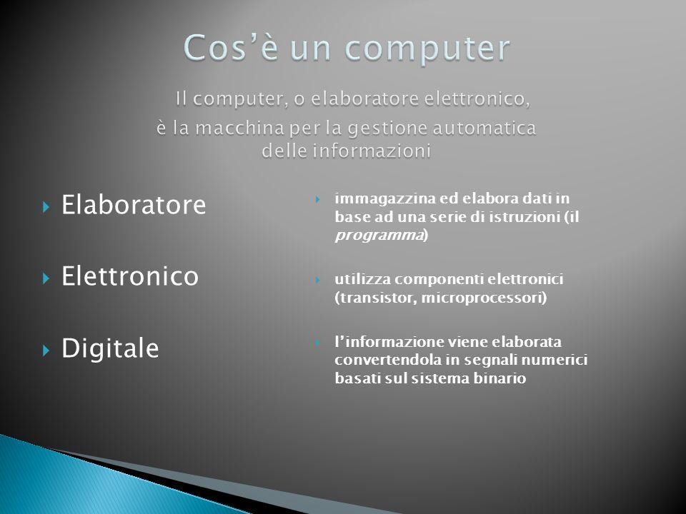 Cos'è un computer Il computer, o elaboratore elettronico, è la macchina per la gestione automatica delle informazioni
