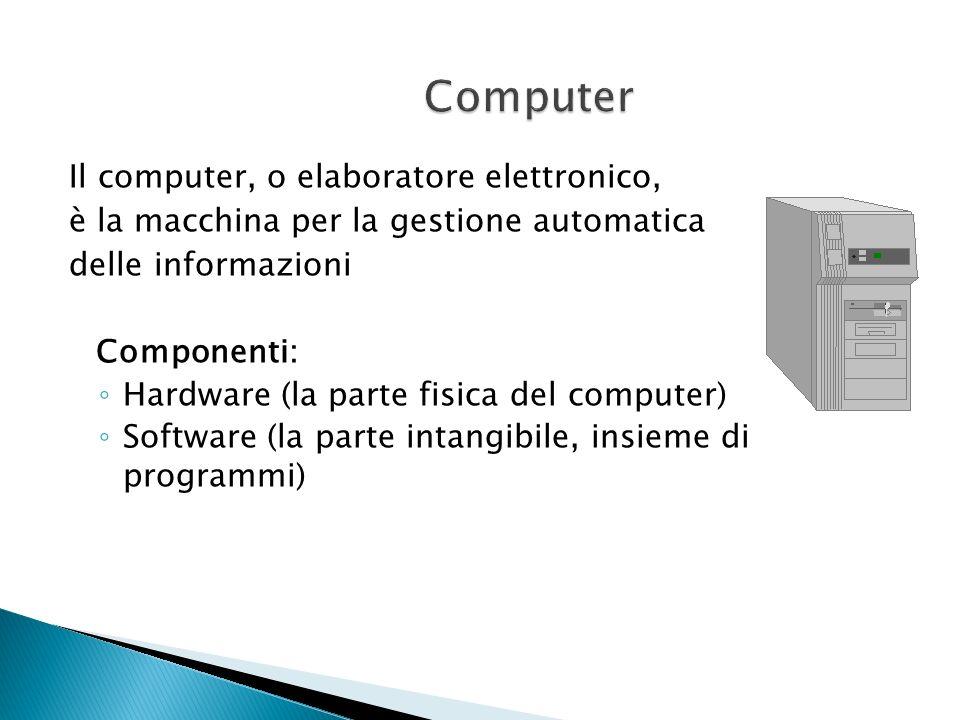 Computer Il computer, o elaboratore elettronico,