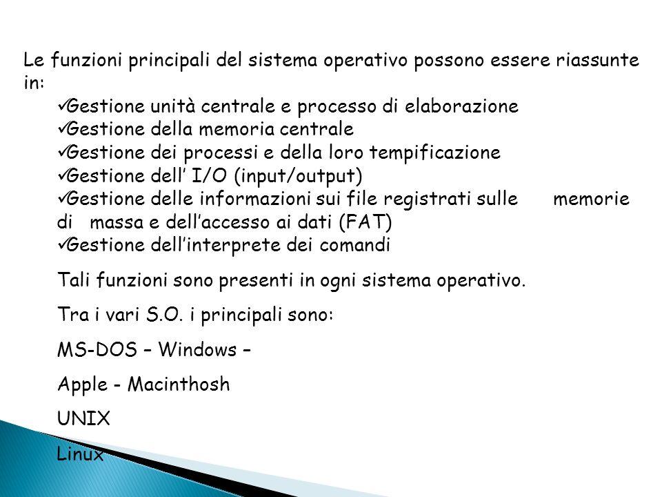Le funzioni principali del sistema operativo possono essere riassunte in: