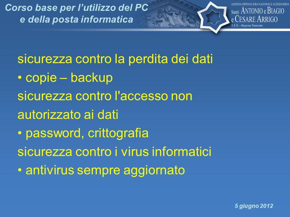 Corso base per l'utilizzo del PC e della posta informatica