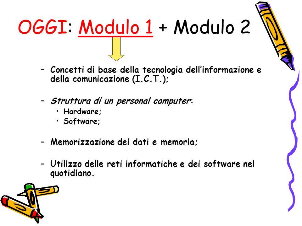 OGGI: Modulo 1 + Modulo 2 Concetti di base della tecnologia dell'informazione e della comunicazione (I.C.T.);