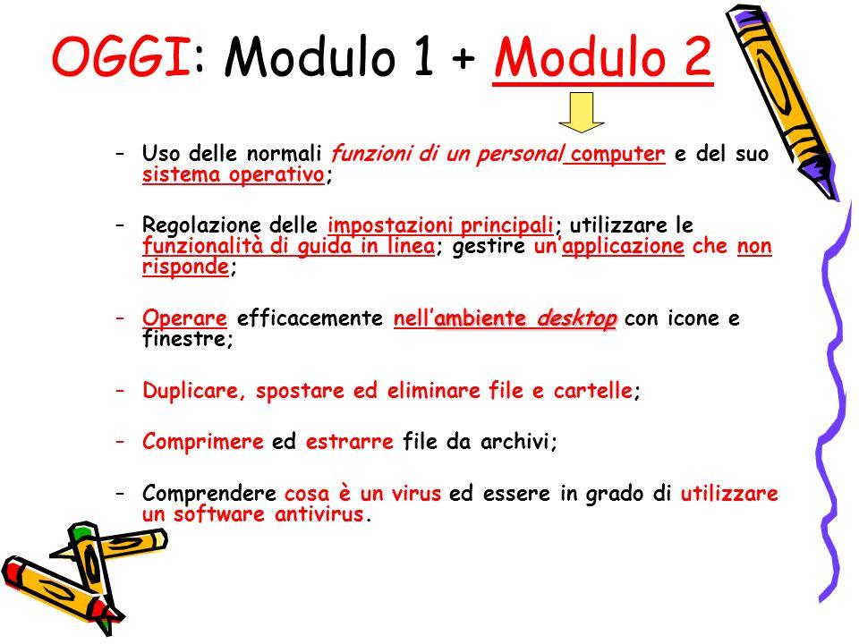 OGGI: Modulo 1 + Modulo 2 Uso delle normali funzioni di un personal computer e del suo sistema operativo;