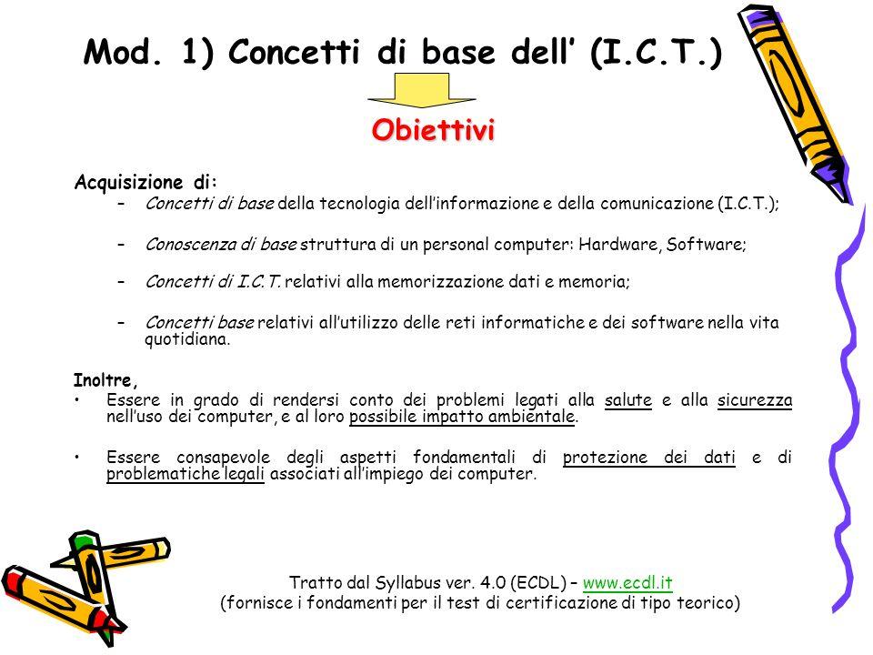 Mod. 1) Concetti di base dell' (I.C.T.)