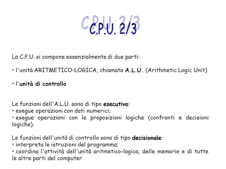 C.P.U. 2/3 La C.P.U. si compone essenzialmente di due parti: