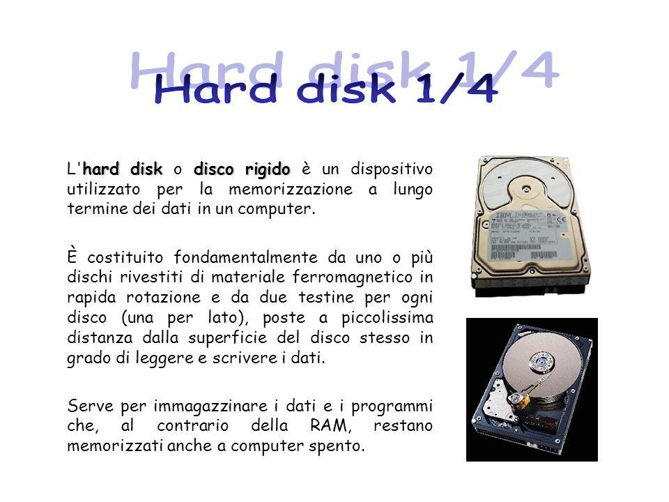 Hard disk 1/4 L hard disk o disco rigido è un dispositivo utilizzato per la memorizzazione a lungo termine dei dati in un computer.
